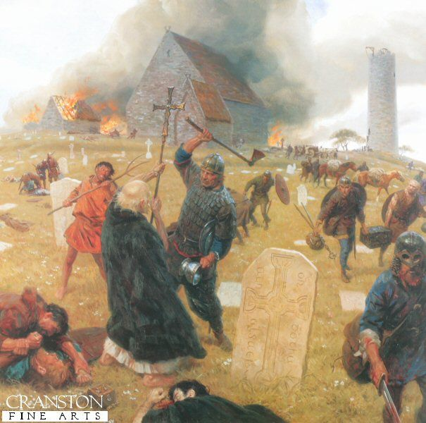 Vikings attack Lindisfarne - painting by Tom Lovell ...