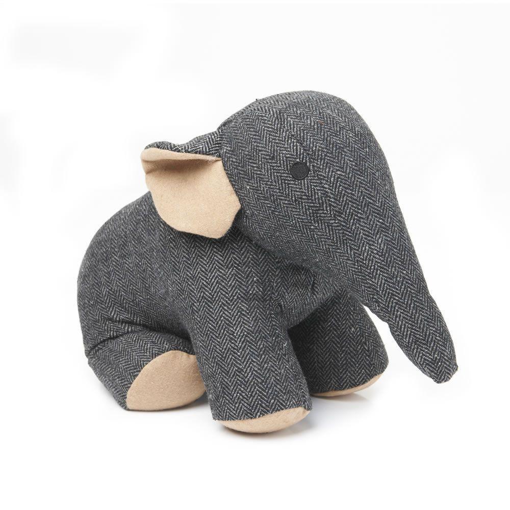 ELEPHANT DOORSTOP IN CHARCOAL GREY HERRINGBONE TWEED FABRIC in Home,  Furniture & DIY, Home