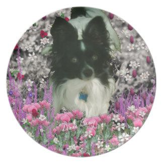 Matisse in Flowers - White & Black Papillon Dog Party Plate, designed by Diane Clancy Animals, $30 !!