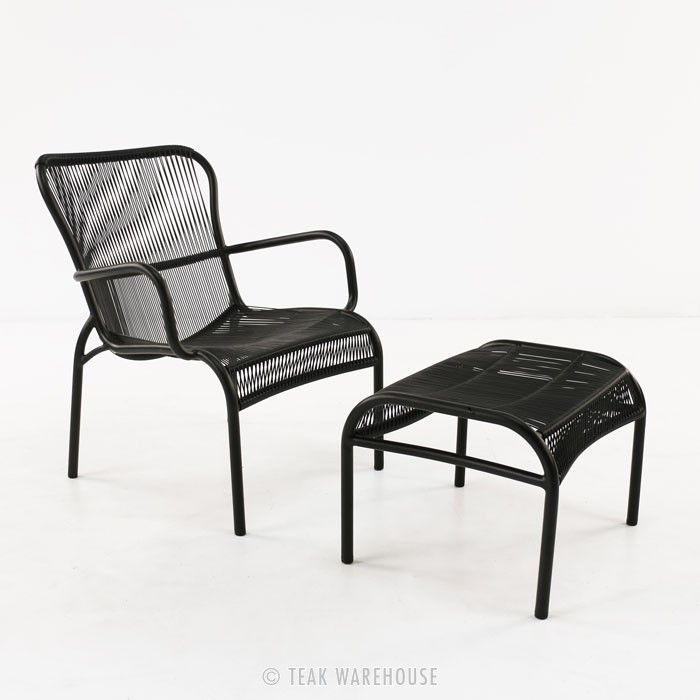 Luxe Outdoor Chair And Ottoman (Black)   Relaxing Chairs   Relaxing