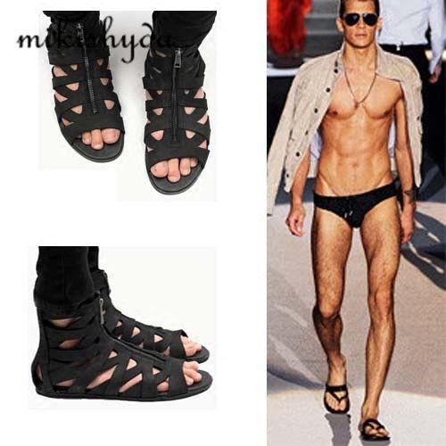 a80584bb1c4b2d HOT Man Sandals Punk style Leather Summer Cool Beach Shoes Cut Out  Flip-Flops Roman Male Black Sandals High Top Man Summer Boot