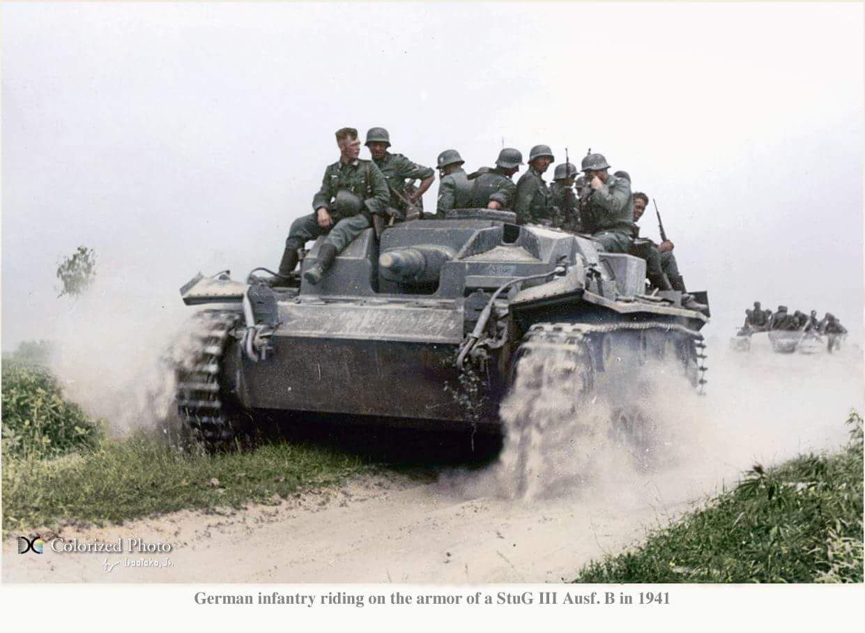 German infantry riding on a Sturmgeschütz StuG III Ausf. B somewhere in the Soviet Union during 'Operation Barbarossa' in the summer of 1941. When it first appeared the Sturmgeschütz, or as it is more commonly known the StuG III, was a unique weapon...