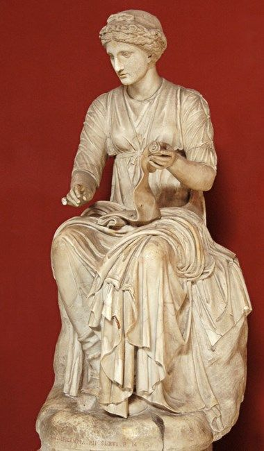 Statue of Muse Clio - Roman work, marble, circa 2nd AD, at the Vatican Museums, Rome
