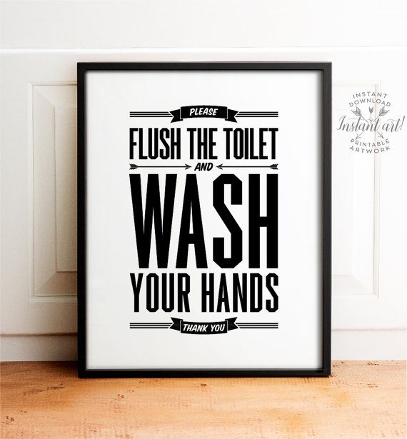 Bathroom Signs Wash Hands flush sign, bathroom decor, printable art, flush toilet sign, wash