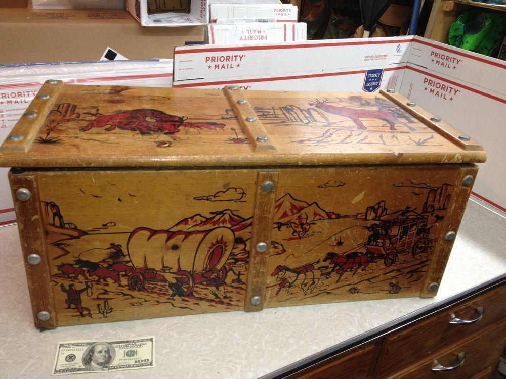 Western Bedroom Tank Toy Box Or: Vintage Western Motif Large Wood Toy Box Bison Elk