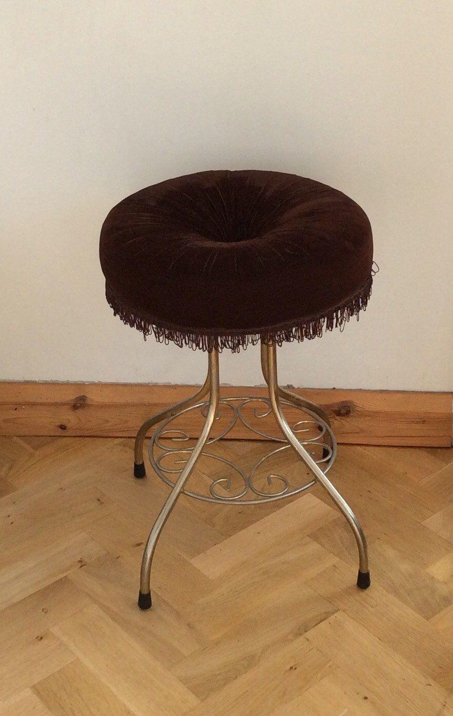 Vintage vanity stool bedroom boudoir dressing table seat chair vintage vanity stool bedroom boudoir dressing table seat chair brown velvet goldtone hollywood regency geotapseo Gallery