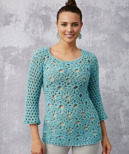 FREE CROCHET PATTERN! Lacy Detail Tunic from Red Heart Yarn. You may ...