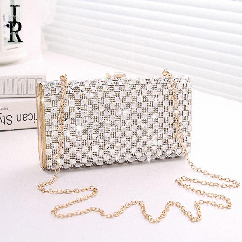 Crystal Evening Bag Chain Clutch Bags Lady Wedding Clutches Purse Rhinestones Handbags Silver Gold