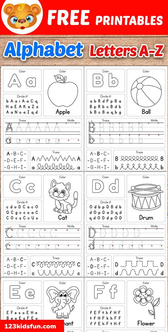 Free Alphabet Practice A-Z Letter Worksheets   123 Kids Fun Apps