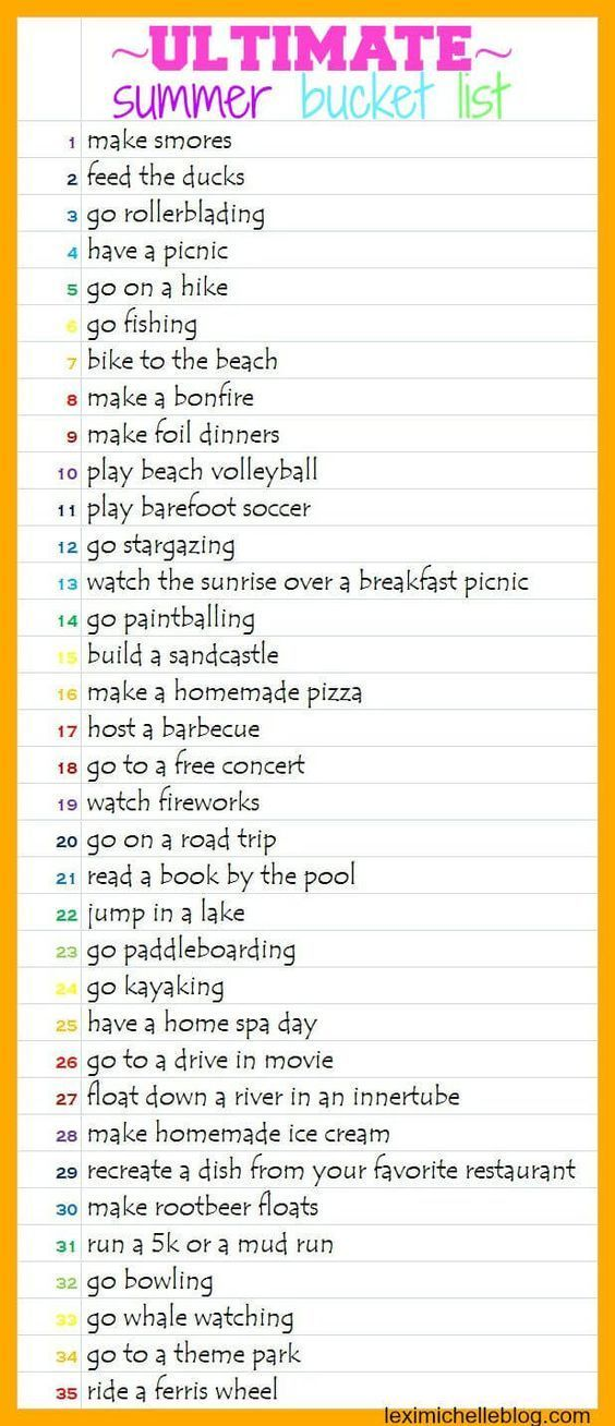 The Ultimate Summer Bucket List | Summer bucket lists, Buckets and