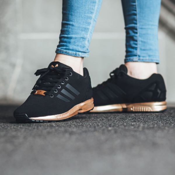le dernier b149c 797be adidas ZX Flux Trainers – Black and Copper (Gold | Fashion ...