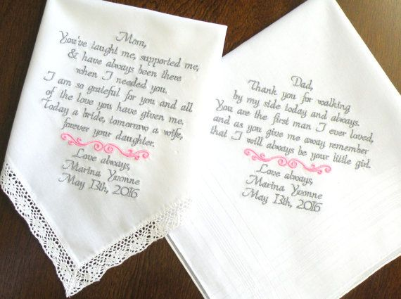 Mom And Dad Wedding Gift Mother Of The Bride Father Gifts Embroidered Handkerchiefs For Brides