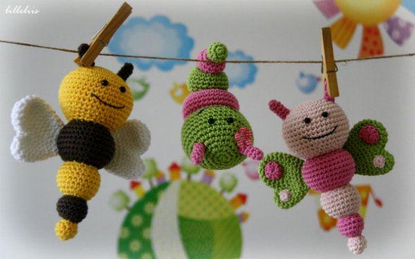 Amigurumi Caterpillar : Pattern bug rattles butterfly bee and caterpillar am¡gurum