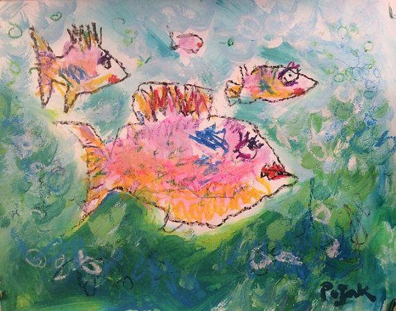 Tropical Fish Painting primitive art fish art by RussPotakArtist