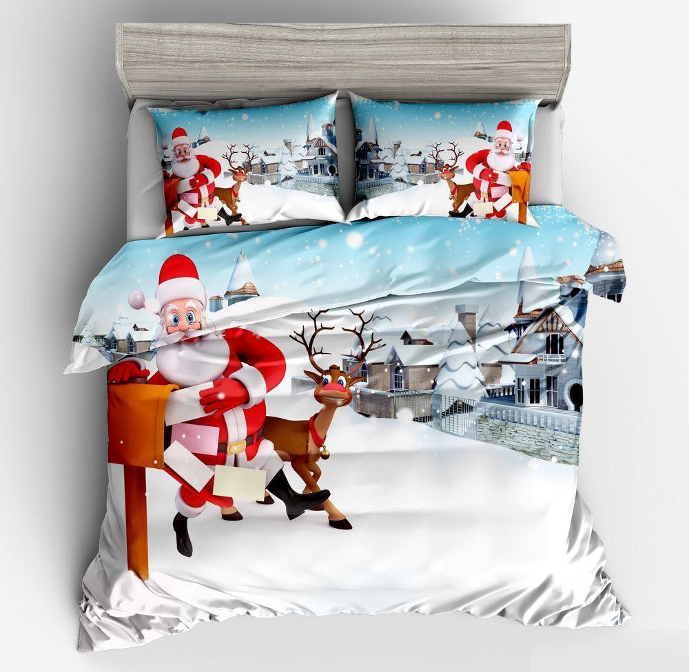 Noël Enfants Couette Housse de couette et taie d/'oreiller Literie Ensemble De Lit Cadeau de Noël Santa