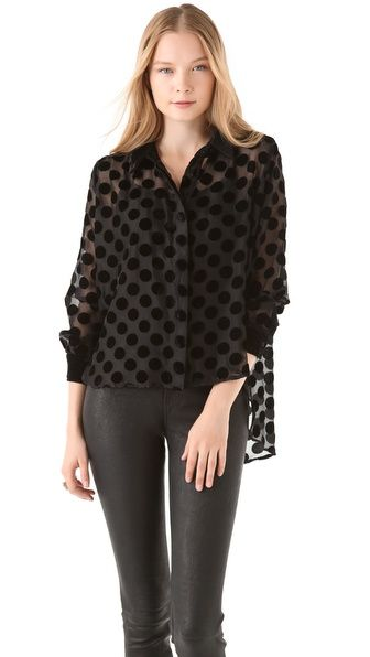 could this top be any more awesome? velvet polka dots? yes please