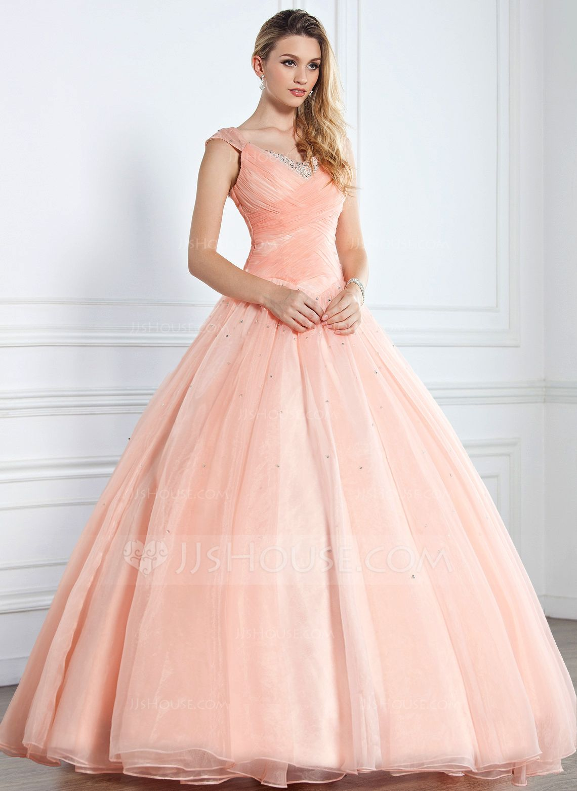 Ball-Gown V-neck Floor-Length Organza Satin Quinceanera Dress With ...