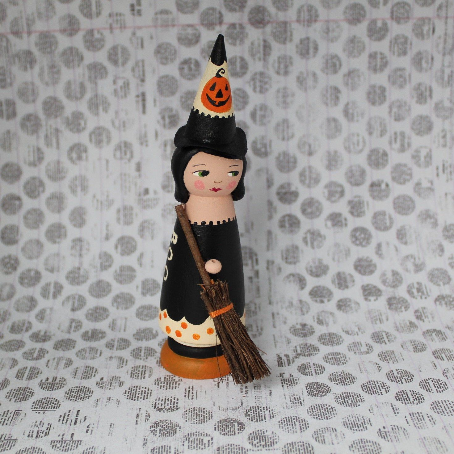 Halloween, Peg Doll, Witch with Broom, Wooden Art Doll, Halloween Decor, Hand Painted, Folk Art, 5 3/4 inches tall