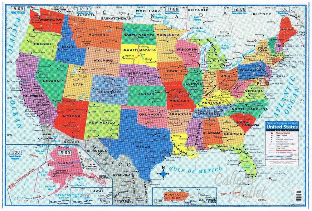 Details about USA United States Map Poster Size Wall ... on map of 50 states with names, map of south america, google america united states,