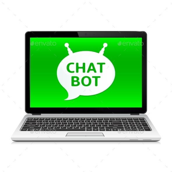 Chat Bot App on Laptop Screen Laptop screen, Computer