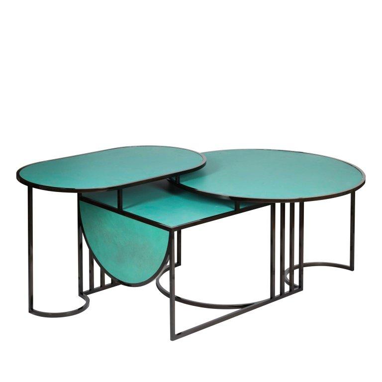 Orbit Coffee Table Steel And Verdigris Copper By Lara Bohinc In