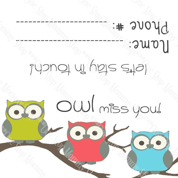graphic relating to Owl Miss You Printable identify Past Working day of Faculty / Owl Overlook Yourself Printable Bag Topper