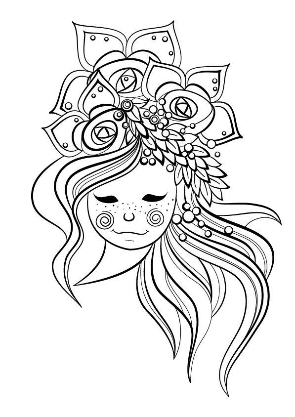 Jeune fille fleurie colorier mandala mandala - Fille a colorier ...