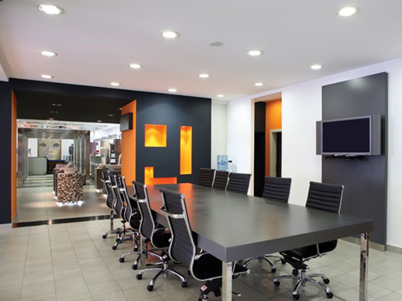 Interior, Exceptional Open Plan Office Meeting Room Design Inspiration With  Picturesque Black Wood Rectangular Coference Table And Stylish Black Arm  Chairs ...