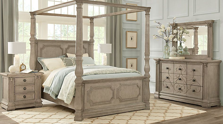Havencrest Gray 7 Pc Queen Canopy Bedroom | Guest Room in ...