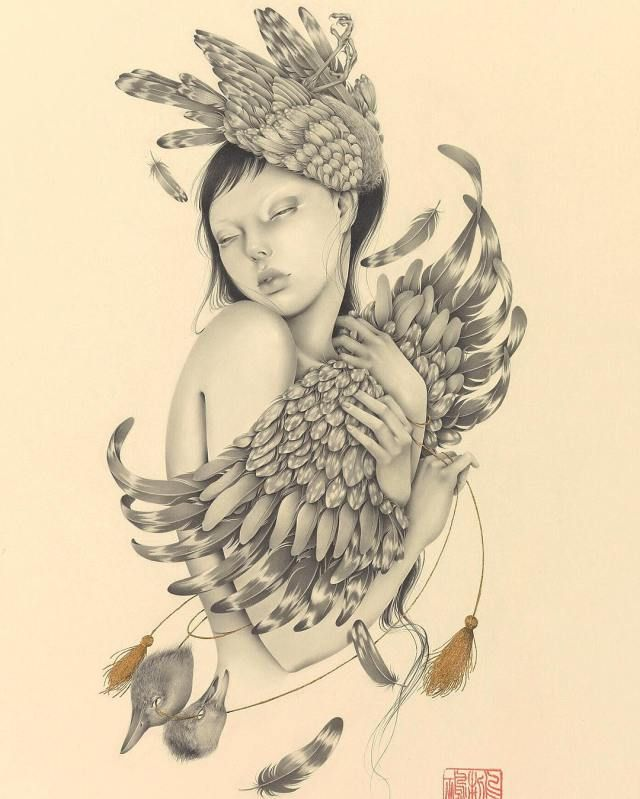 Ozabu creates gorgeous pencil drawings inspired by japanese culture cutpastestudio illustrations entertainment