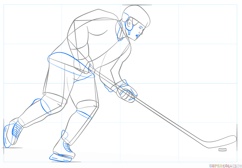 How To Draw A Hockey Player Step By Step Drawing Tutorials