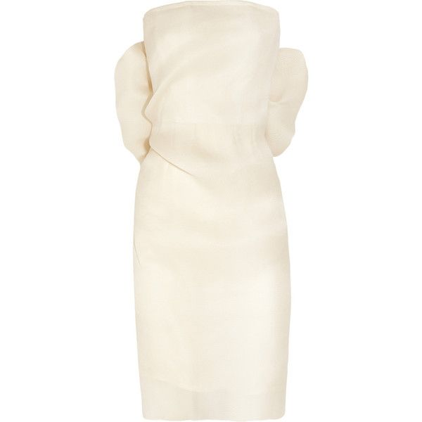 Lanvin Bow-embellished silk-gazar dress (€5.115) ❤ liked on Polyvore featuring dresses, lanvin, vestidos, cocktail dresses, white, zipper dress, oversized dress, zip dress and white zipper dress