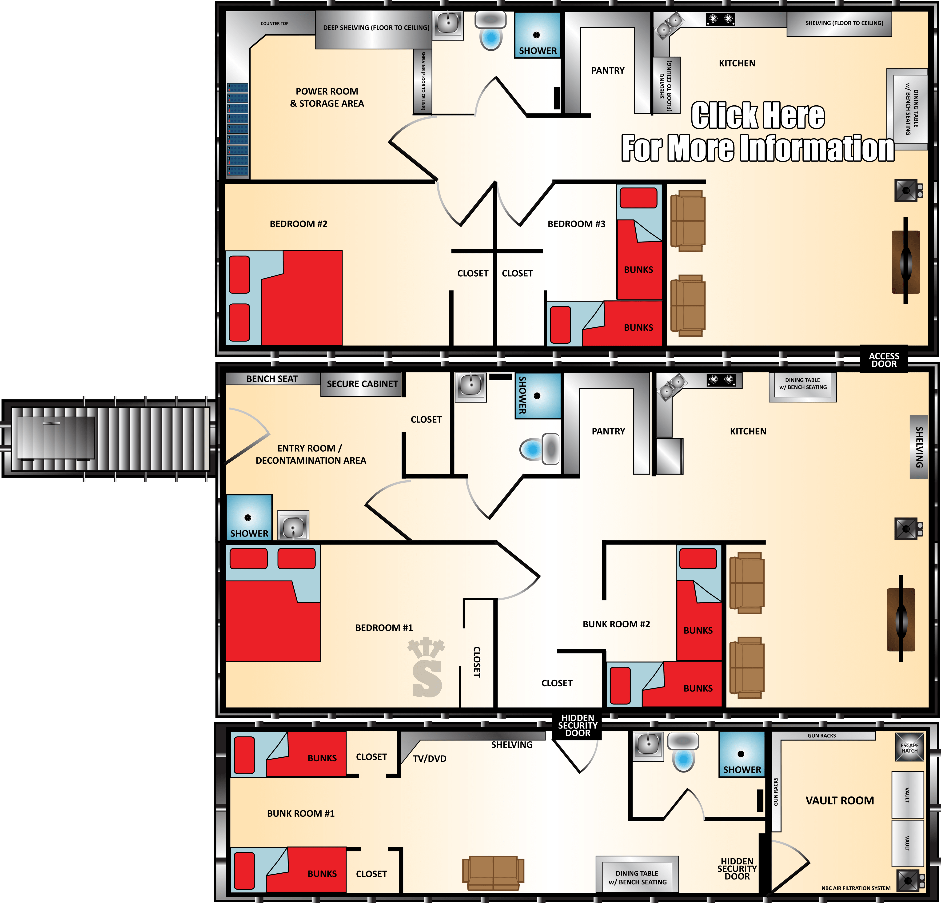 Bunker Floor Plans And Pricing For Models Of Various Sizes Rising S Bunkers Also Makes Custom Bunkers To Suit Every Need A Bomb Shelter Floor Plans Bunker Home