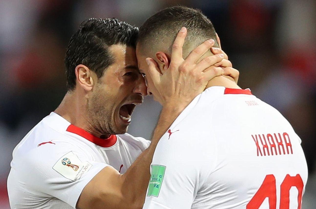 20180622 Serbia 1 2 Switzerland Xherdan Shaqiri Granit Xhaka Photo Credit Getty Images World Cup Fifa World Cup Photo