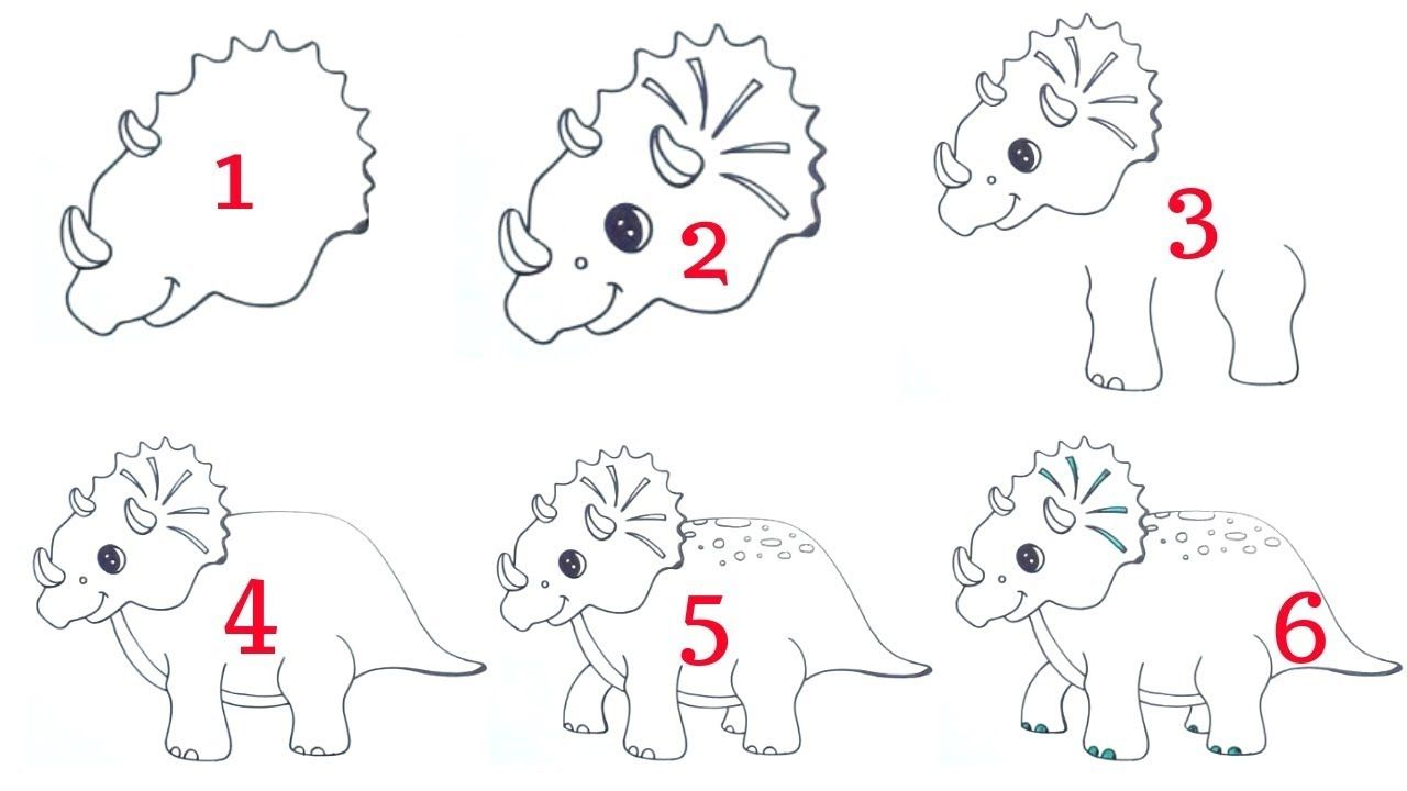 How to draw triceratops dinosaur easy for beginners easy drawing dinosaur triceratops beginners