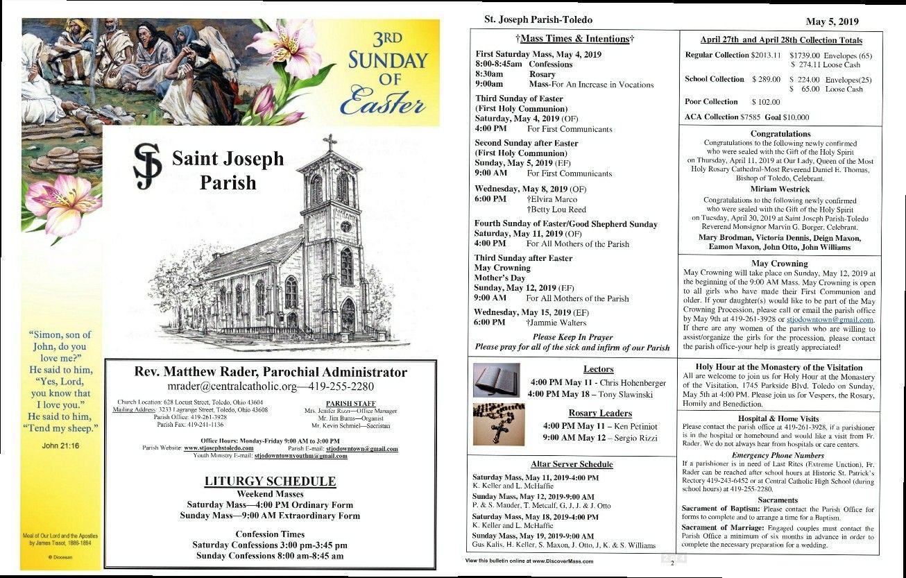St  Joseph Parish Toledo bulletin May 5th including the