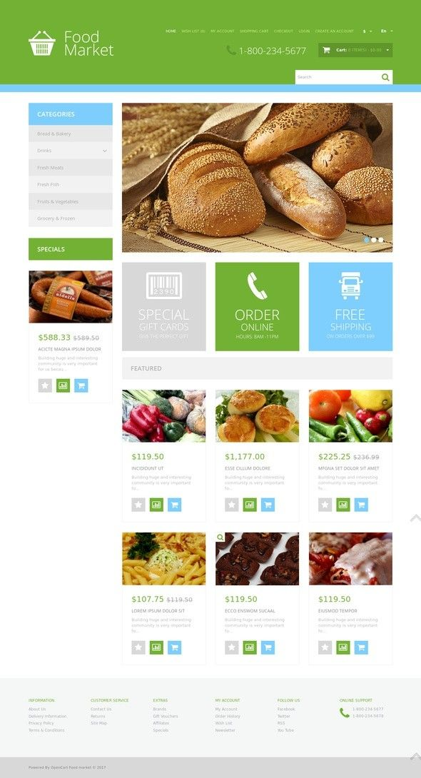 grocery store responsive opencart template template