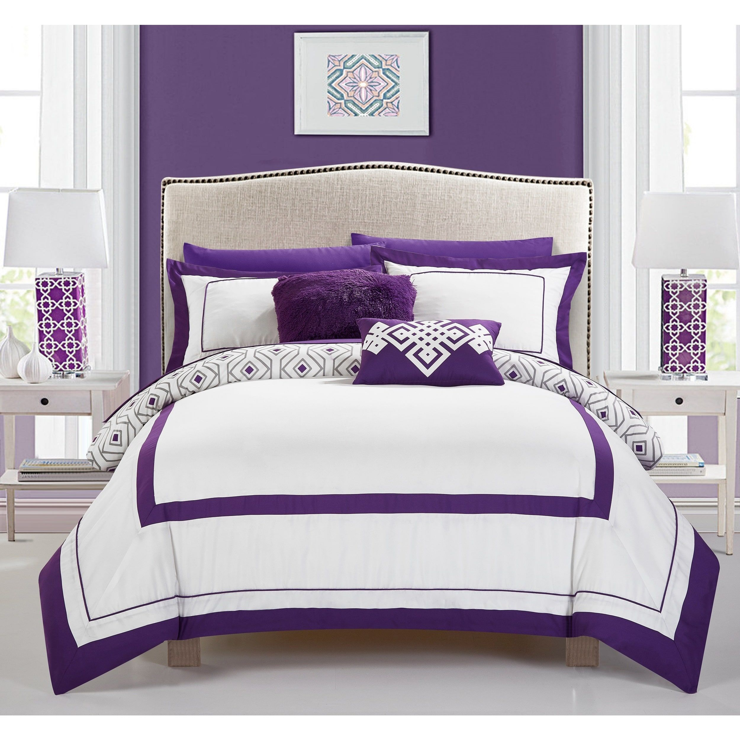 Chic Home Alon Purple 9 Piece plete Bed in a Bag Reversible