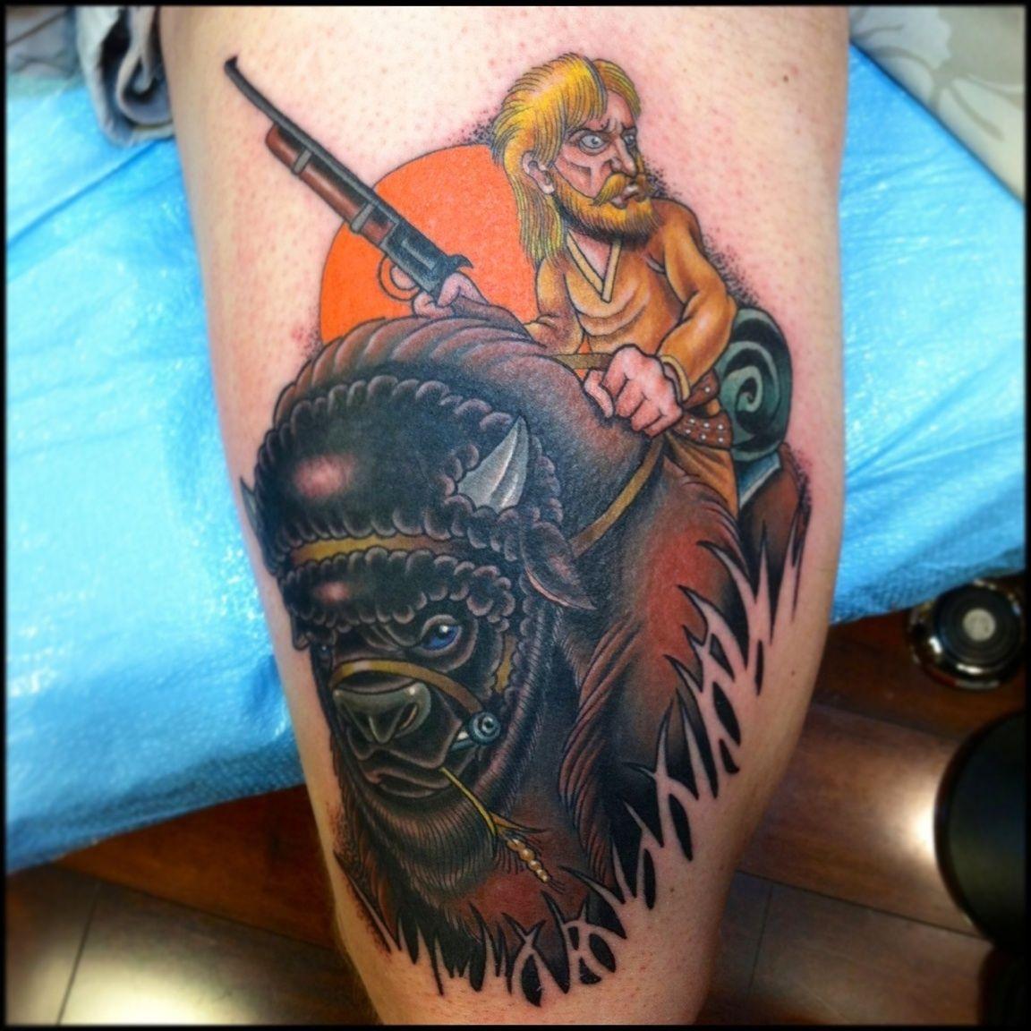 Guy on a buffalo tattoo by jason reeder tattoos for Tattoo buffalo ny