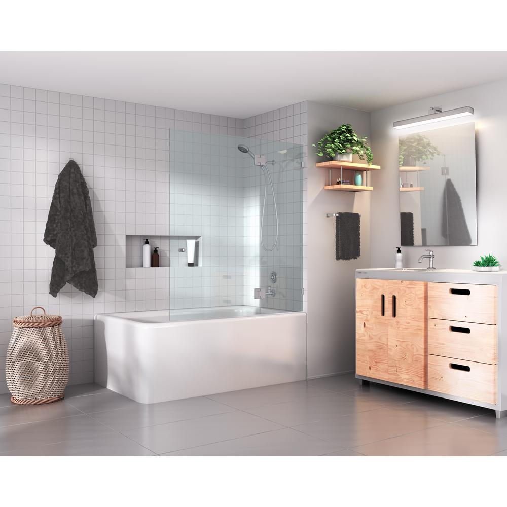 Glass Warehouse 51 In X 58 In Frameless Hinged Glass Tub Door In