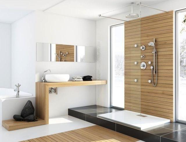 Moderne badezimmermöbel doppelwaschbecken  Bad Ideen für moderne Möbel-Waschtisch aus Holz-Nischen und ...