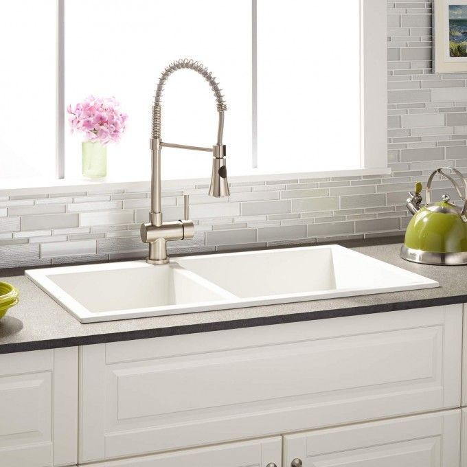 34 Sabelle Double Bowl Drop In Granite Composite Sink White