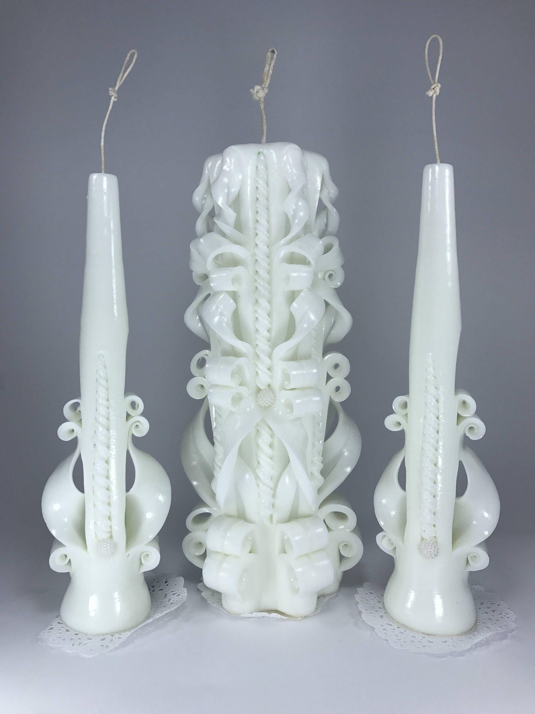 White Wedding Set candles favors Unity candle wedding Unity ceremony ...