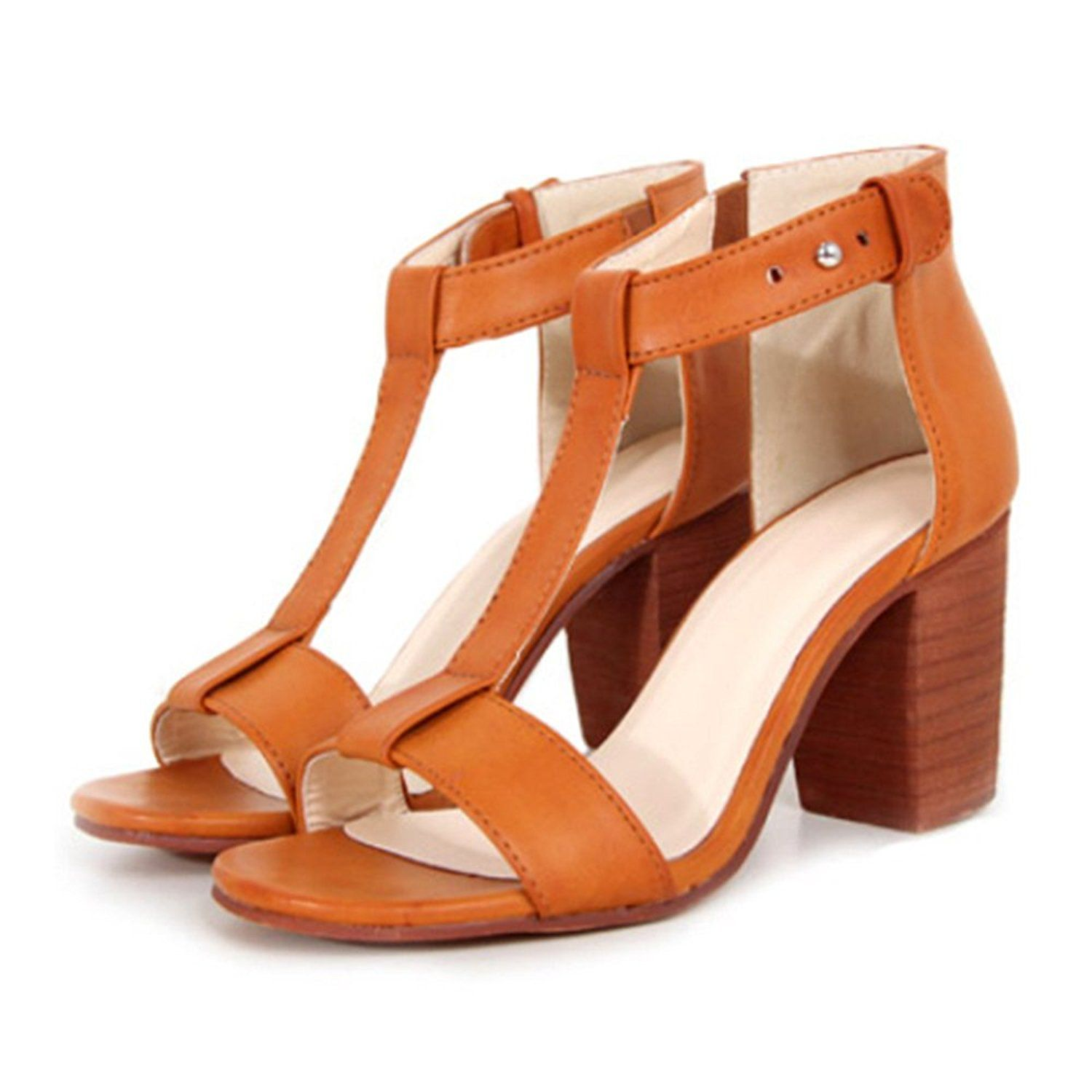 High Thick Heel Sandals Open Toe T Shape Strap light brown