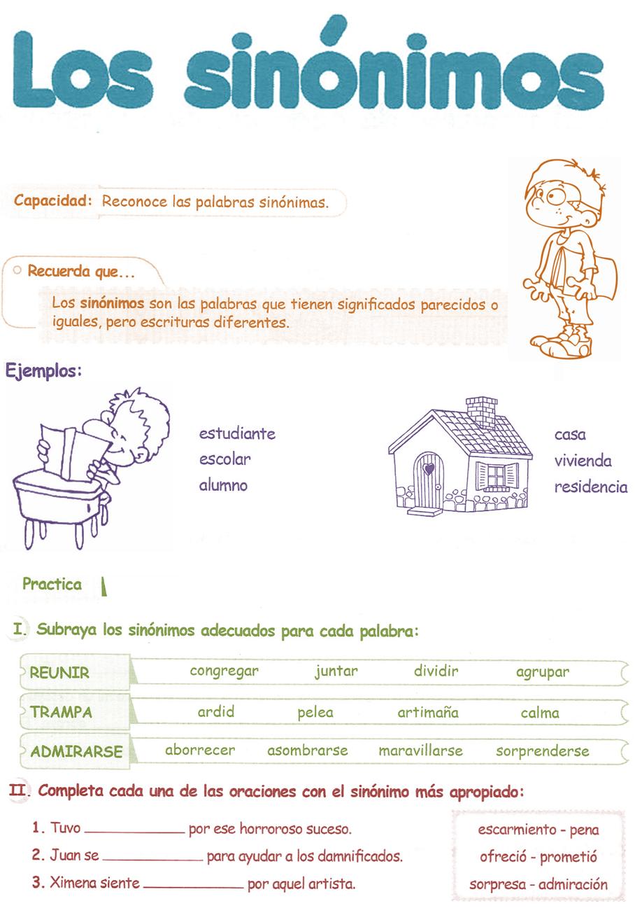 Razonamiento verbal cuarto grado primaria sin nimos for Significado de cuarto