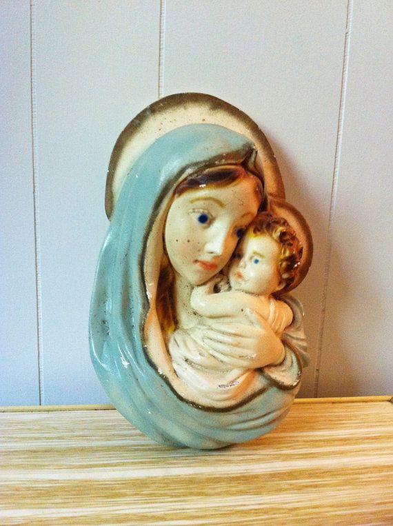 Vintage Chalkware Virgin Mary and Baby Jesus Wall by ArtDecoDame, $25.00