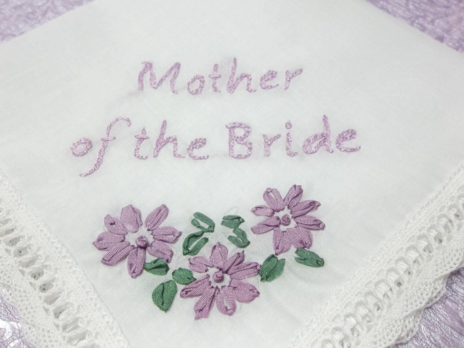 Mother of bride, mother of groom hand embroidered, wedding handkerchief, hankerchief, wedding favor, lilac silk ribbon embroidery, by SheriAngellCreations on Etsy https://www.etsy.com/listing/261849778/mother-of-bride-mother-of-groom-hand