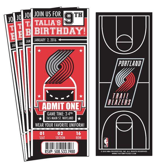 12 Portland Trail Blazers Custom Birthday Party Ticket