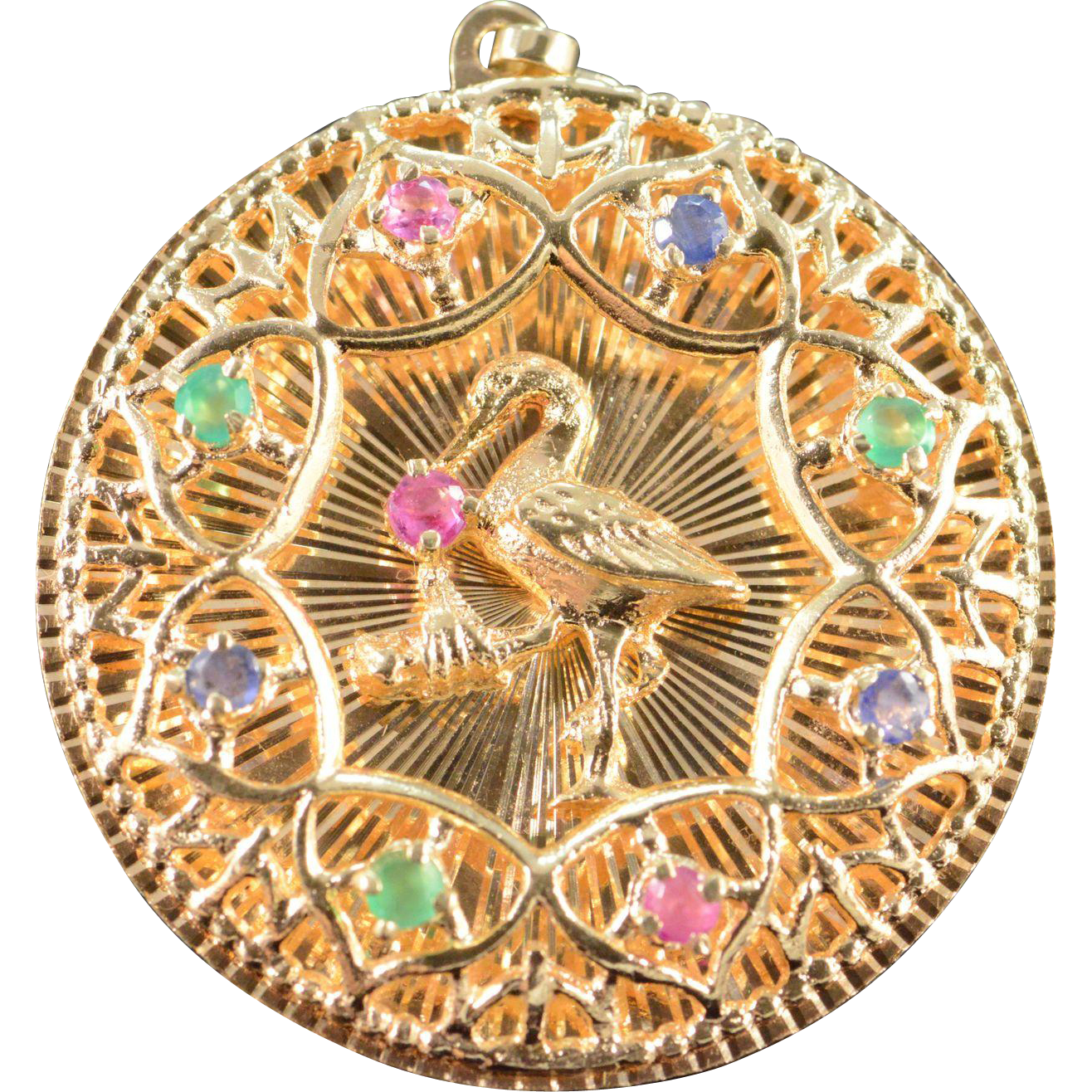3cf97bb91 14K Vintage Gemstone Stork Newborn Baby Charm/Pendant Yellow Gold..Thy r  charmed that Dave & I want to hv a family & thnk it is golden. Thank you.