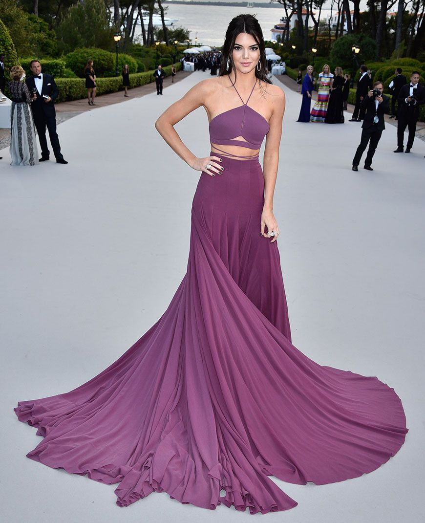 Two pieces backless purple evening prom dresses long sexy party